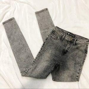 Sneak Peek black acid wash high waist skinny jeans